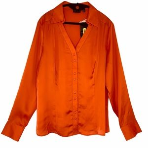 Investments polyester satin button down blouse.